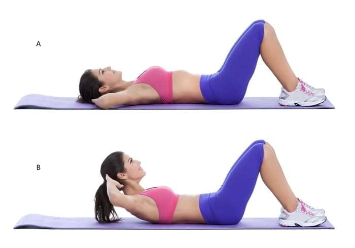 Exercise to reduce the upper belly fat with the crunch exercise (Crunch)