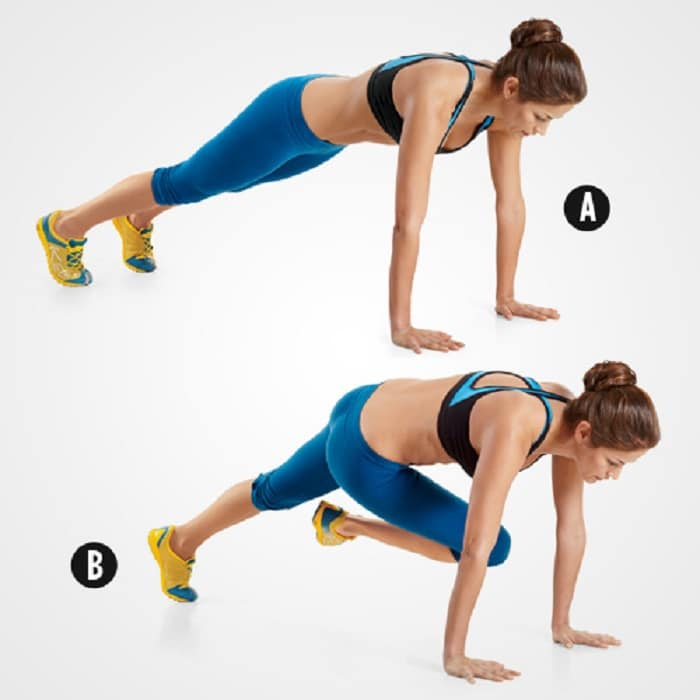 Cardio exercises cross-leg climbing