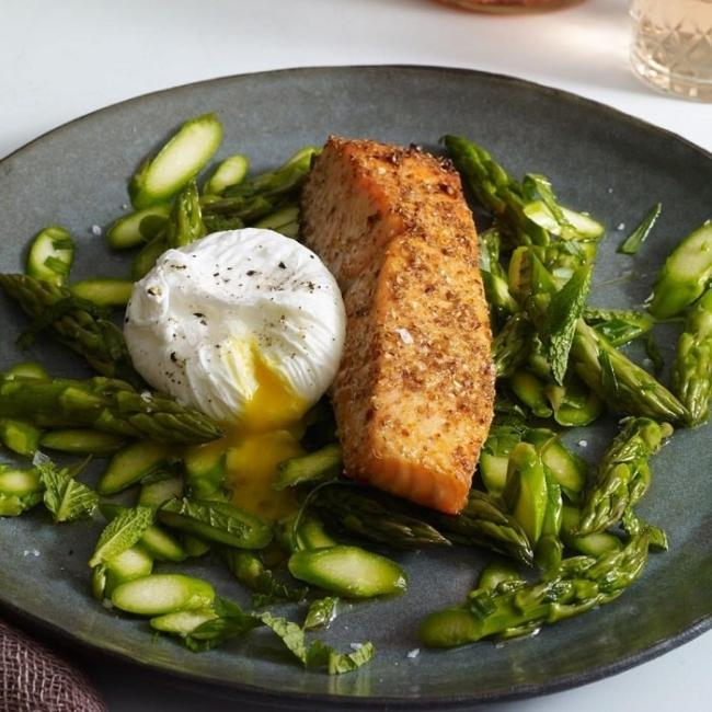 Or simply with a menu of salmon and asparagus.