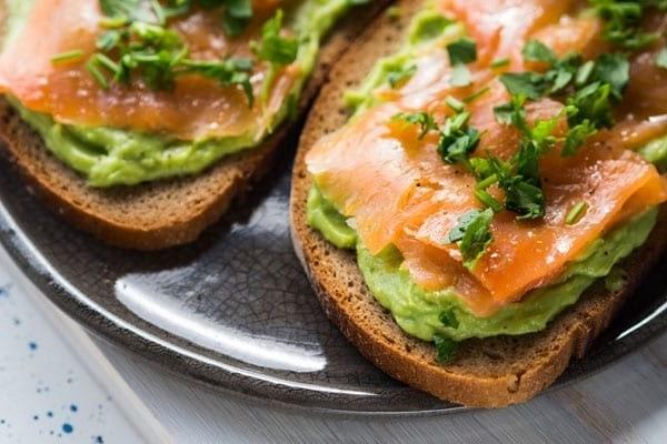 Salmon and avocado.