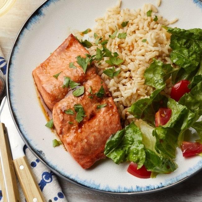 Brown rice and salmon.