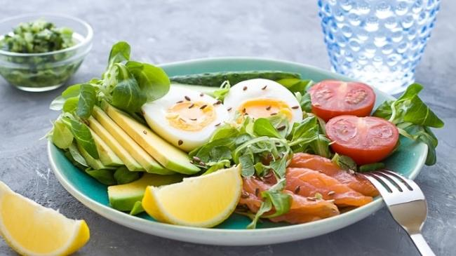 Simple with eggs, salmon, and vegetables.