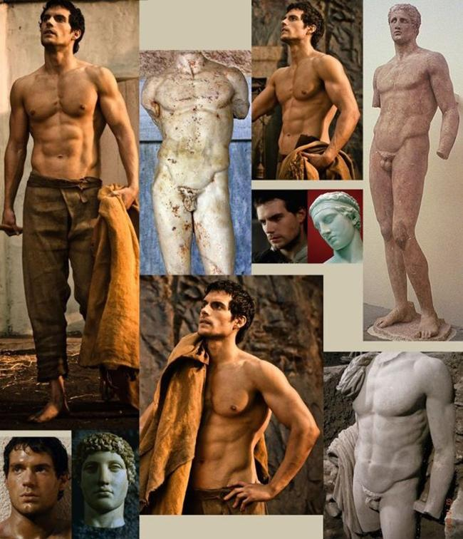 Henry Cavill's statue-like beauty on screen.