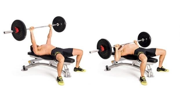 Exercises lying on the weightlifting chair.