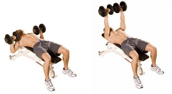 Dumbbell Bench Press - Center chest