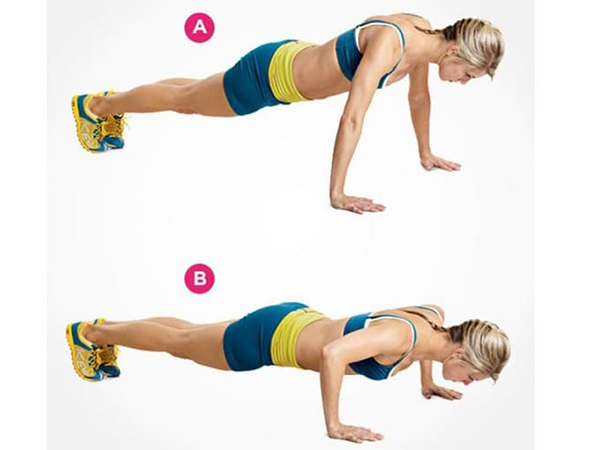 The correct posture of the pushup exercise.