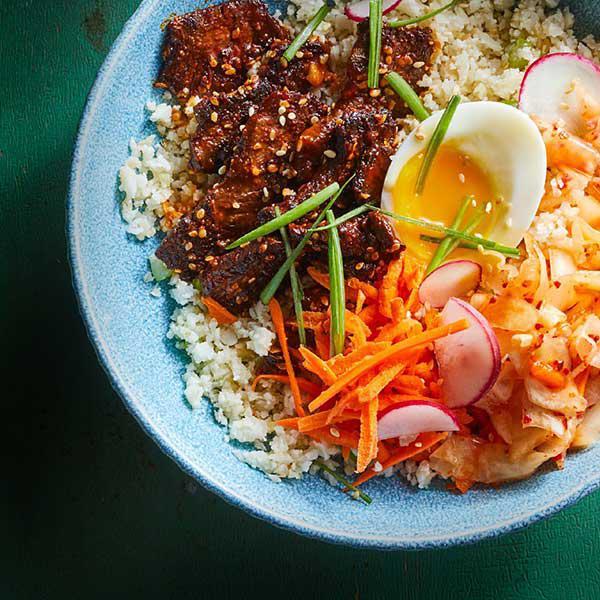 450g steak + ½ cup Korean kimchi + rice