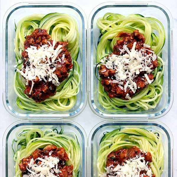 8 cups zucchini noodles + 3 cups meat sauce + ½ cup crushed cheese