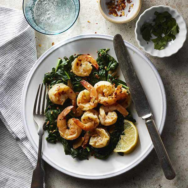 450g stir-fried shrimp with 450g spinach + 1 slice of whole-wheat toast with olive oil
