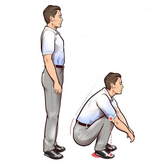 Stand up straight and squat down