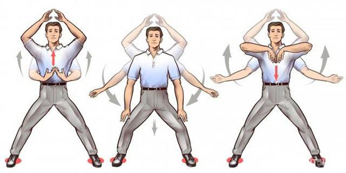 Stand with legs open, hands in front of the chest