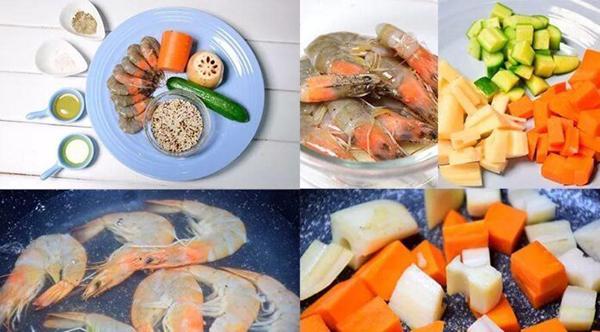 Quinoa rice + boiled shrimp + stir-fried vegetables