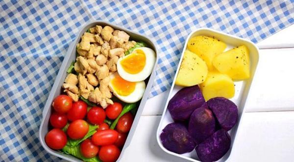 How to make purple sweet potato bento + potato + chicken breast salad