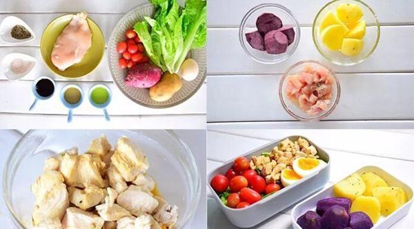 Purple sweet potato + potato + chicken breast salad