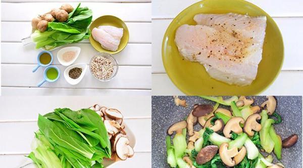 Quinoa rice + Flounder + Stir-fried mushroom with cabbage