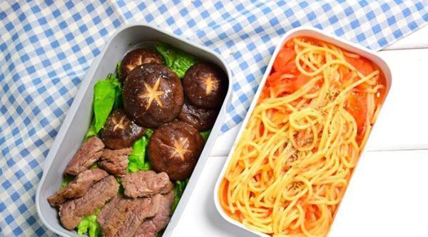 How to make pasta bento + veal + sauteed mushroom
